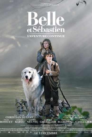 Belle and sebastian movie poster featuring Instinct Animals for Film's Pyrenean Mountain Dog