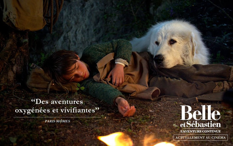 Belle and Sebastian movie poster featuring Instinct Animals for Film Pyrenean Mountain Dog