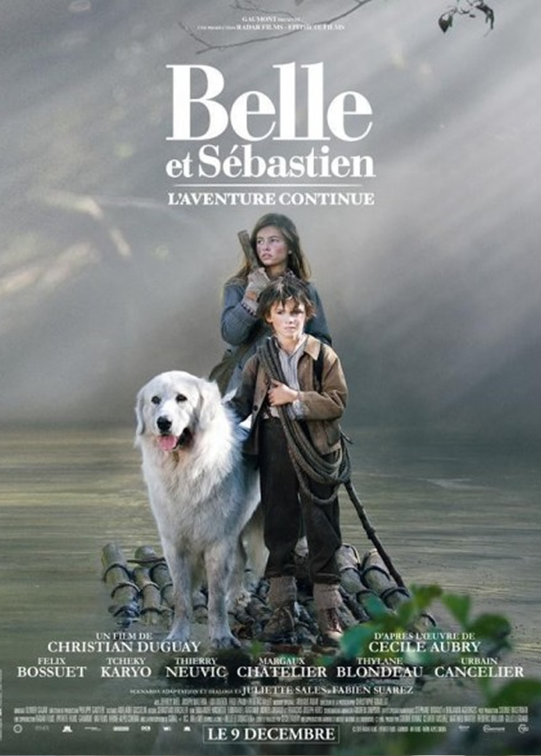 Belle et Sebastian movie poster featuring Instinct Animals for Film's Pyrenean Mountain Dog